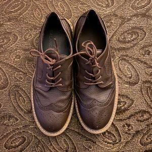 Brown boys dress shoes